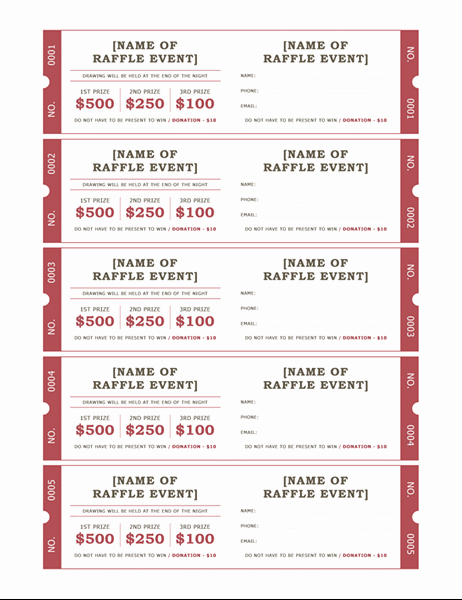 Free event Ticket Template Fresh Raffle Tickets