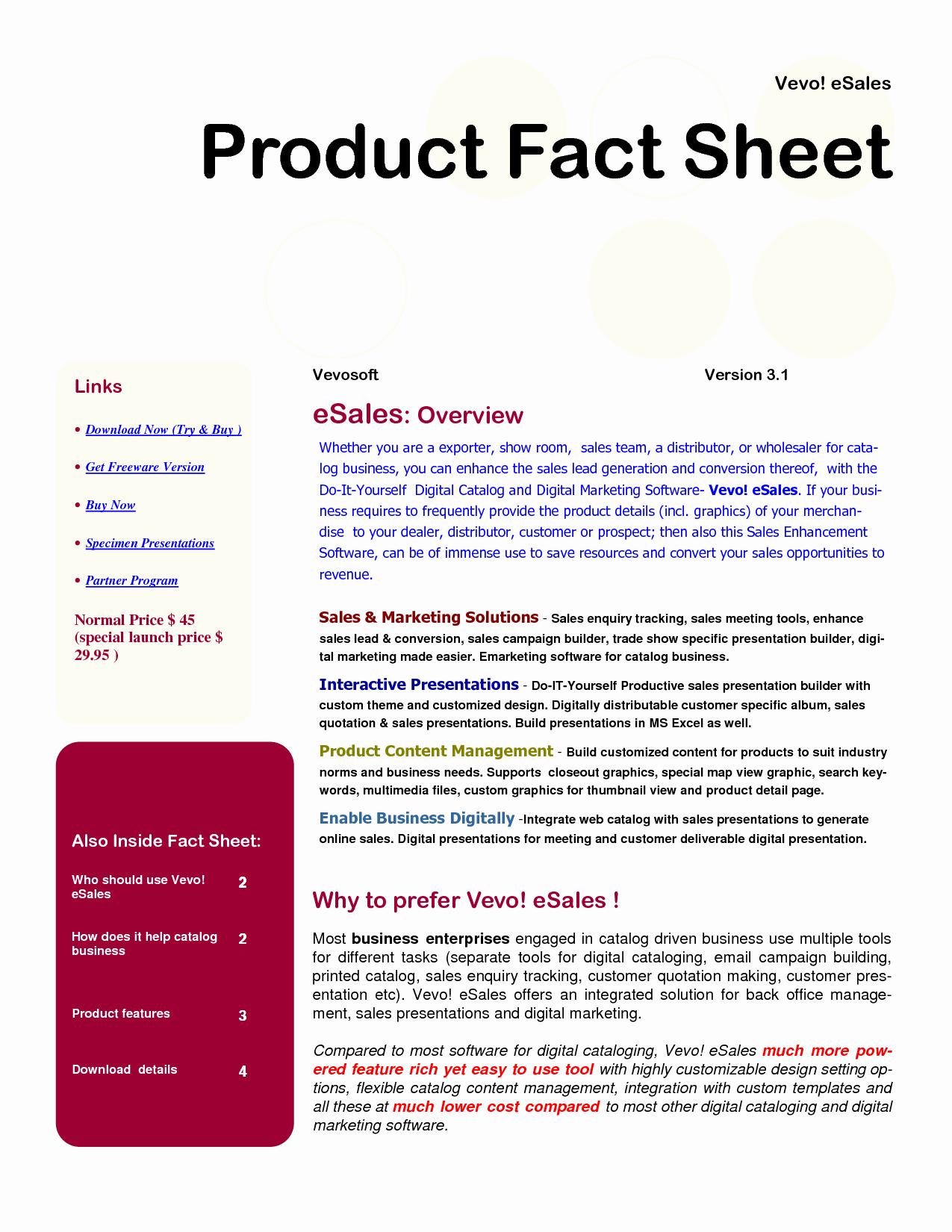 Free Fact Sheet Template Beautiful Best S Of Product Sales Sheet Template Product