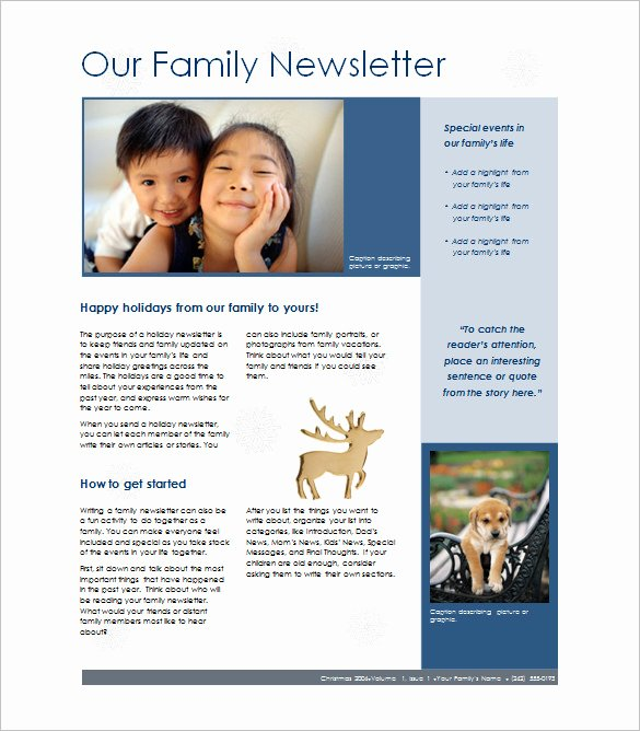 Free Family Newsletter Template Beautiful 7 Family Newsletter Templates – Free Word Documents