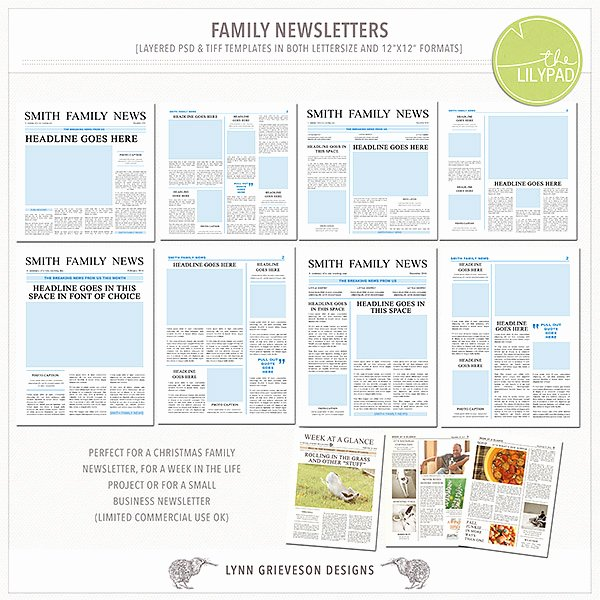 Free Family Newsletter Template Best Of Family Newsletter Templates by the Lilypad Designer Lynn