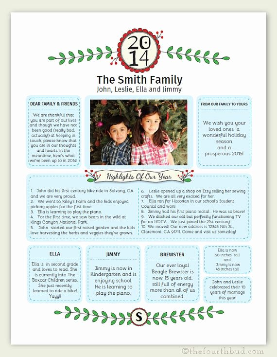 Free Family Newsletter Template Best Of Year In Review Christmas Newsletter Template In Pdf for