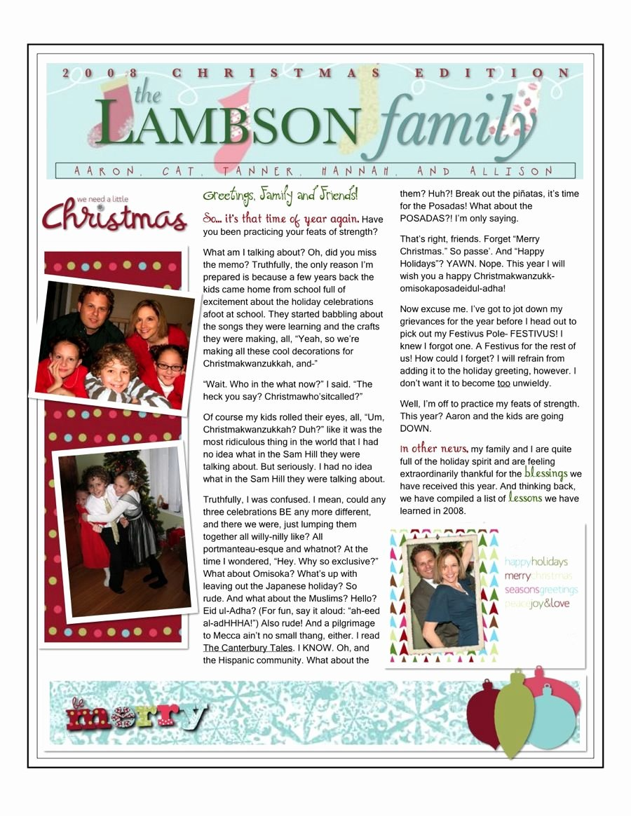 Free Family Newsletter Template Inspirational Christmas Family Newsletter