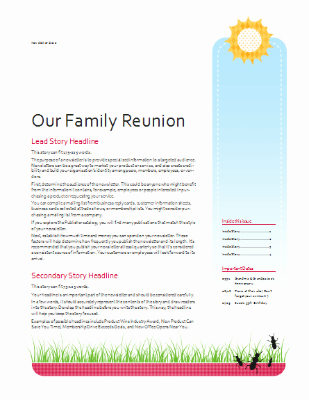 Free Family Newsletter Template Luxury Family Reunion Newsletter Template Google Search