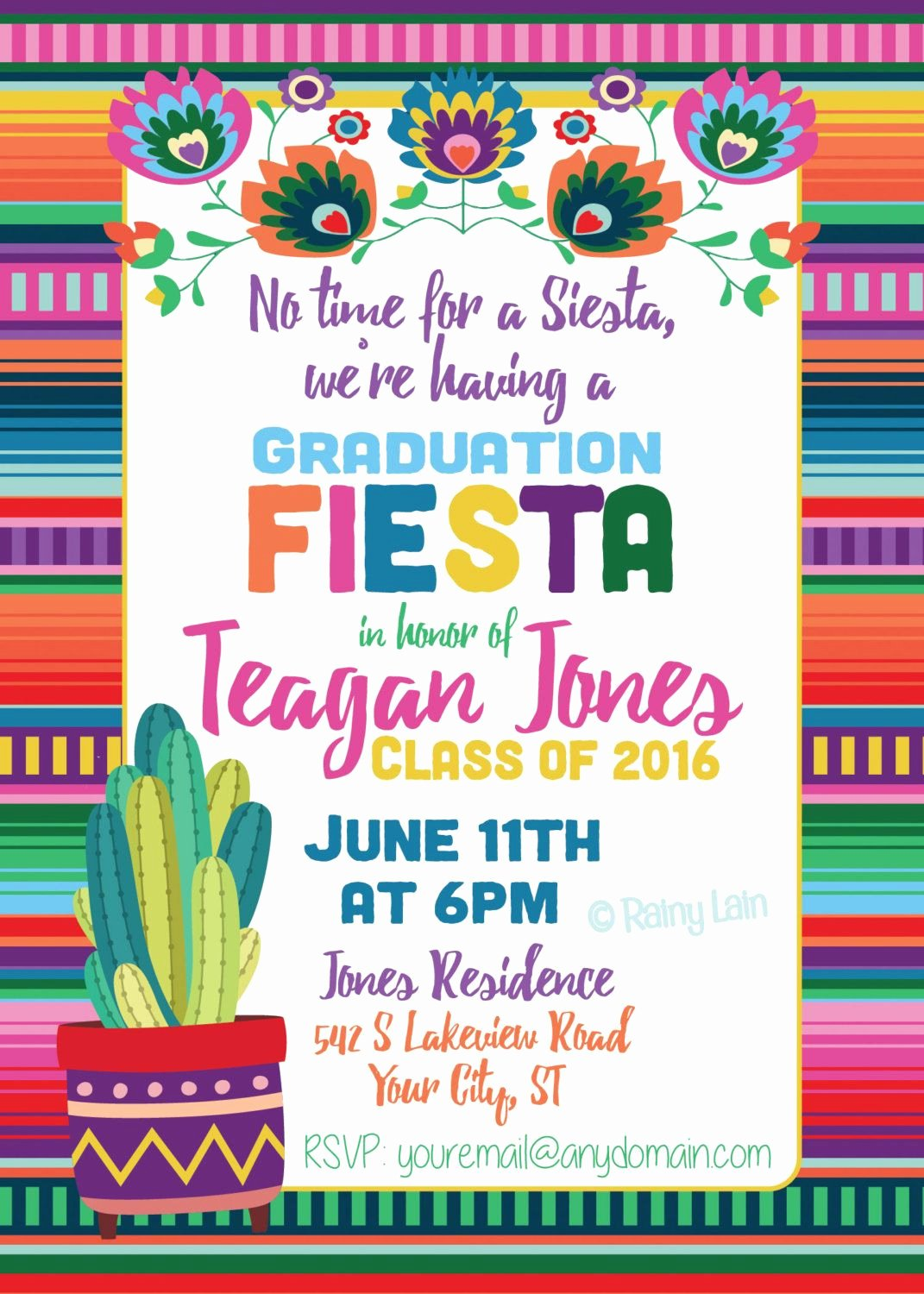 Free Fiesta Invitation Template Best Of Fiesta Graduation Invitation Printable Fiesta Invite