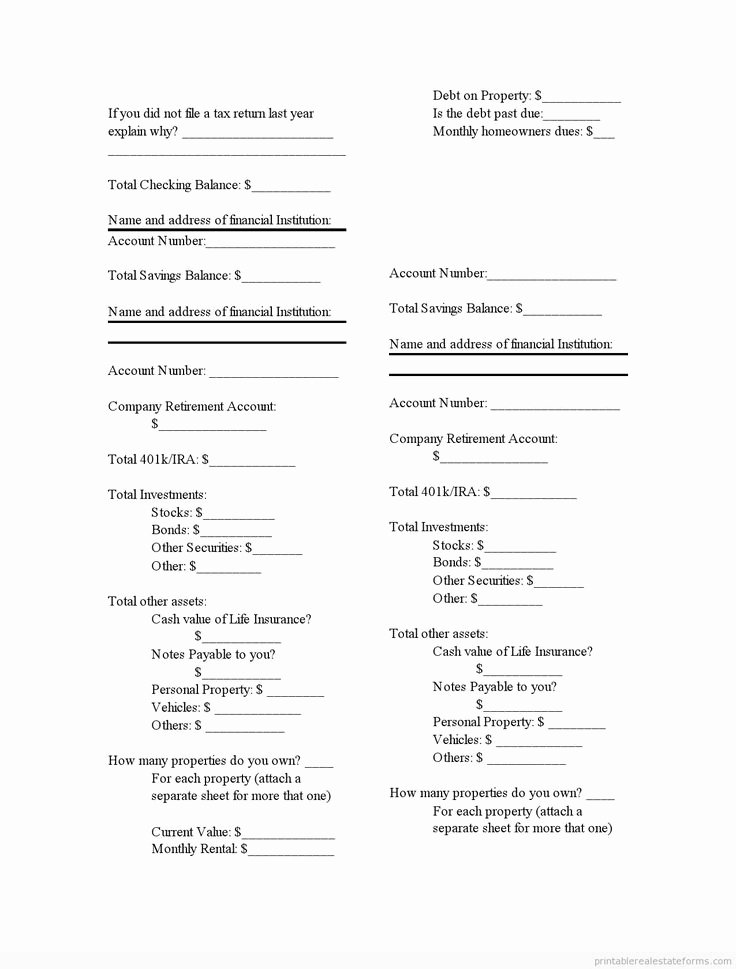 Free Financial Statement Template Awesome Printable Financial Statement 2 Template 2015