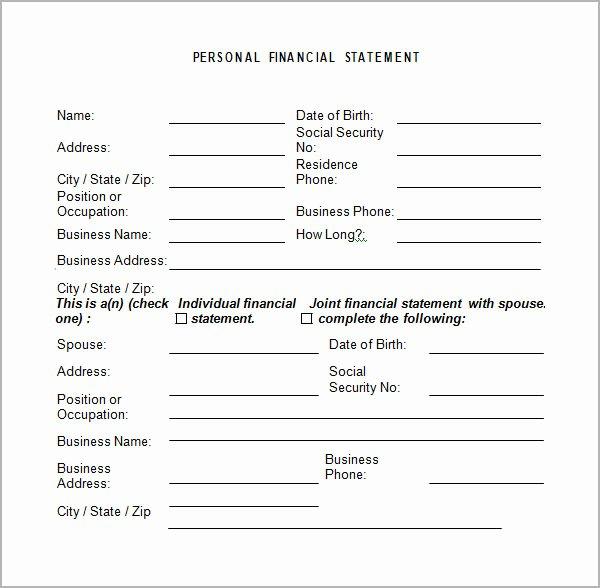 Free Financial Statement Template Unique Personal Financial Statement Templates 9 Download Free
