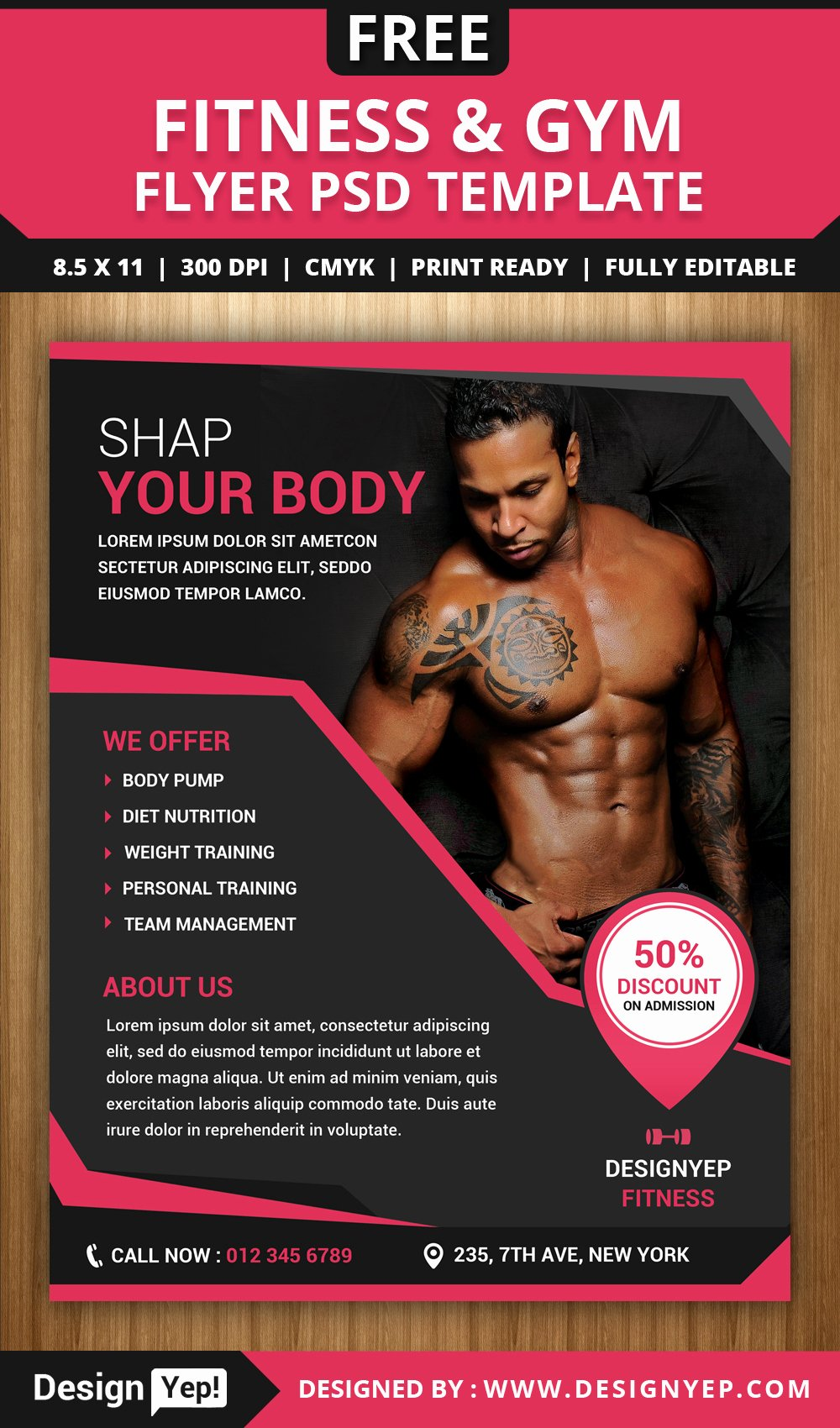 Free Fitness Flyer Template Unique Free Fitness and Gym Flyer Psd Template Designyep