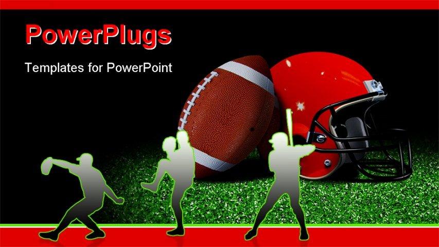 Free Football Powerpoint Template Elegant American Football and Helmet On Field Over Black