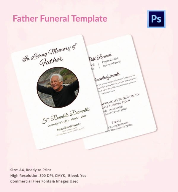 Free Funeral Announcement Template Awesome Funeral Program Template 10 Free Word Psd format