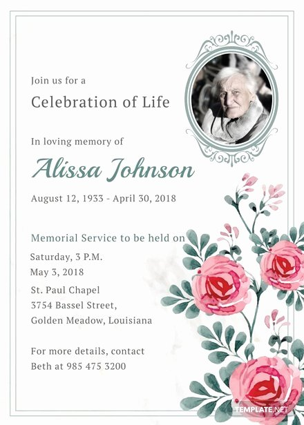 Free Funeral Announcement Template Awesome Memorial Service Invitation Template
