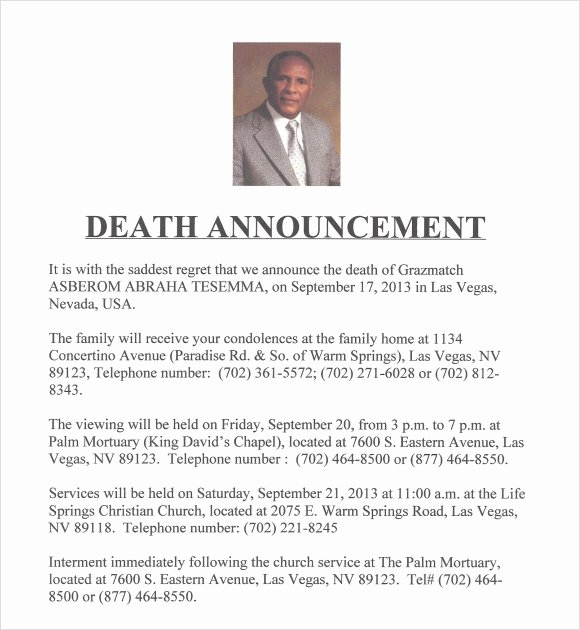 Free Funeral Announcement Template Fresh Death Notice Template 9 Download Free Documents In Pdf