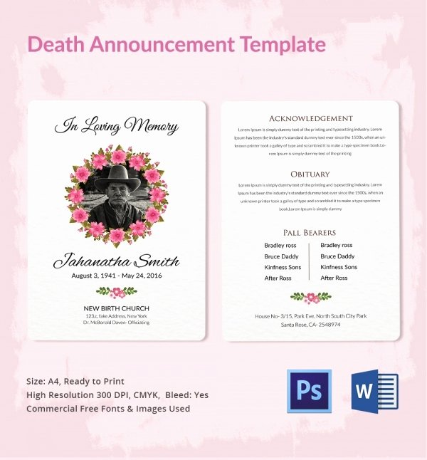 Free Funeral Announcement Template Inspirational Death Announcement 5 Word Psd format Download