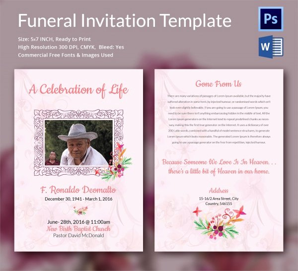 Free Funeral Announcement Template Luxury Sample Funeral Invitation Template 11 Documents In Word