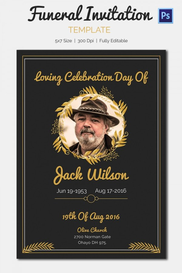 Free Funeral Announcement Template Unique 15 Funeral Invitation Templates – Free Sample Example
