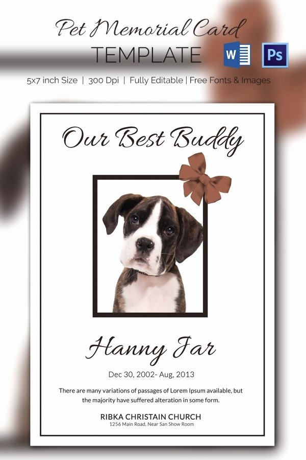 Free Funeral Card Template Beautiful 15 Pet Memorial Card Designs & Templates Psd Ai