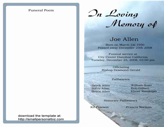 Free Funeral Card Template Inspirational Free Funeral Program Templates
