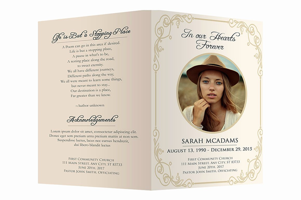 Free Funeral Card Template Lovely Funeral Program Template Brochure Templates Creative