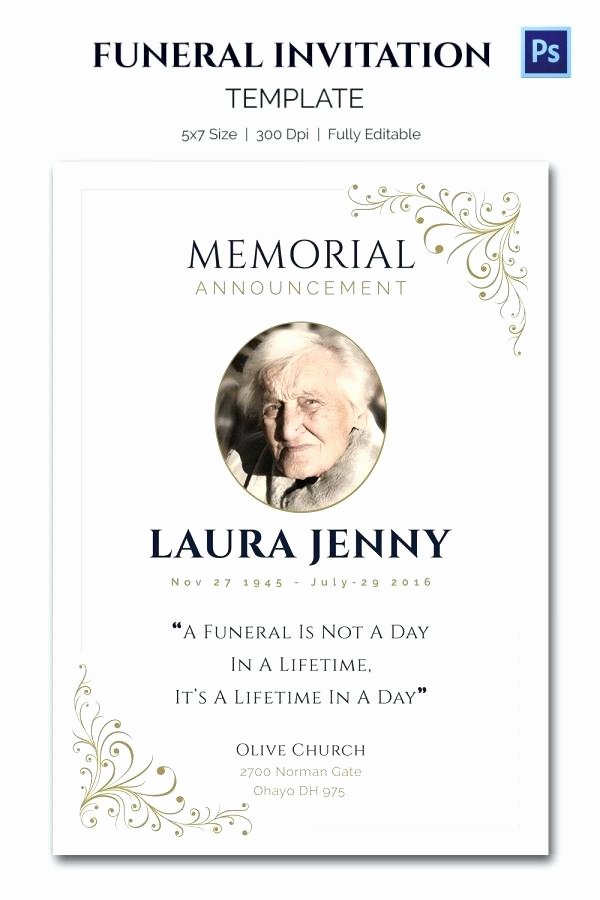 Free Funeral Invitation Template Awesome Church Announcements Template Memorial Announcements