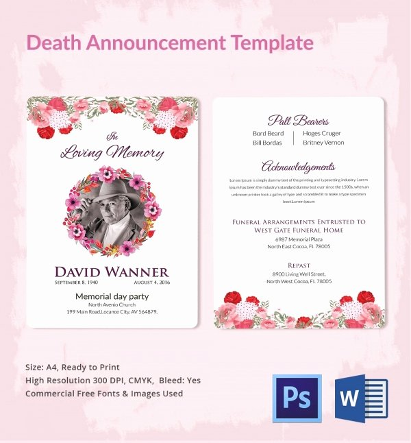 Free Funeral Invitation Template Best Of Death Announcement 5 Word Psd format Download