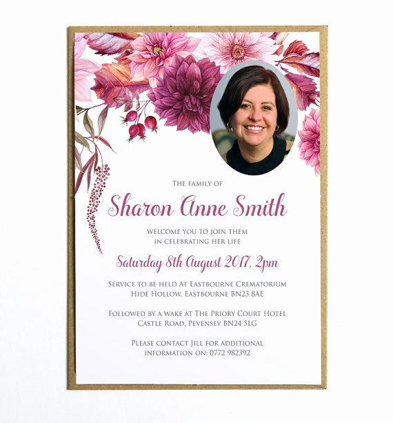 Free Funeral Invitation Template Luxury Funeral Memorial Announcement or Invitation Dahlias