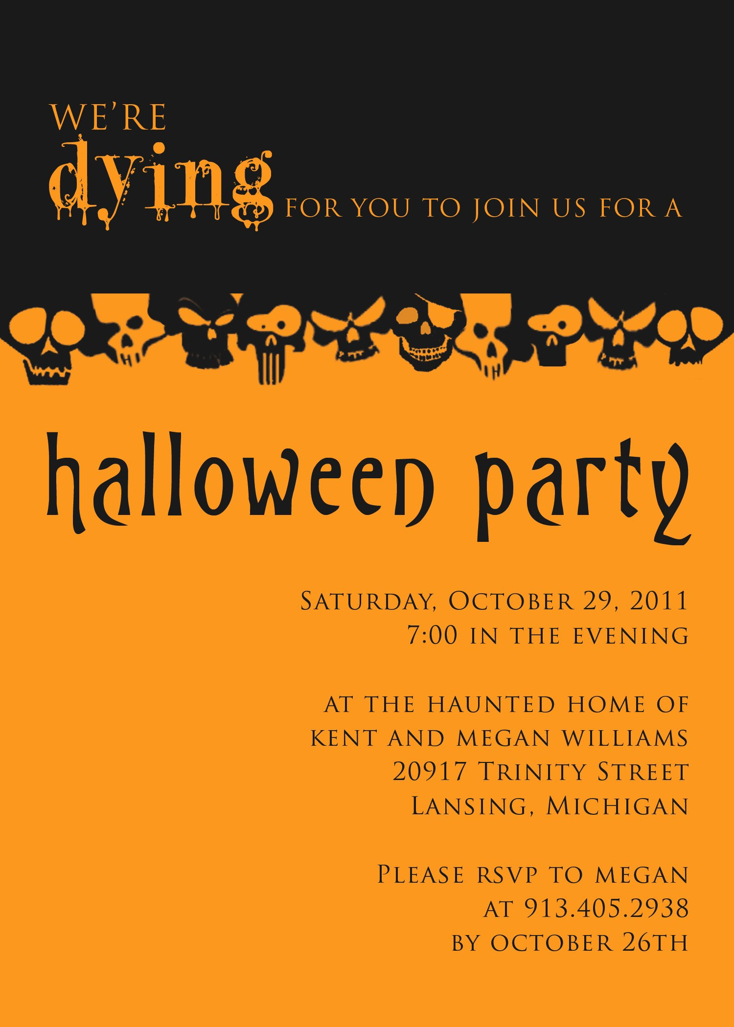 Free Halloween Invitation Template Awesome Halloween Party Invitation Templates Free – Festival