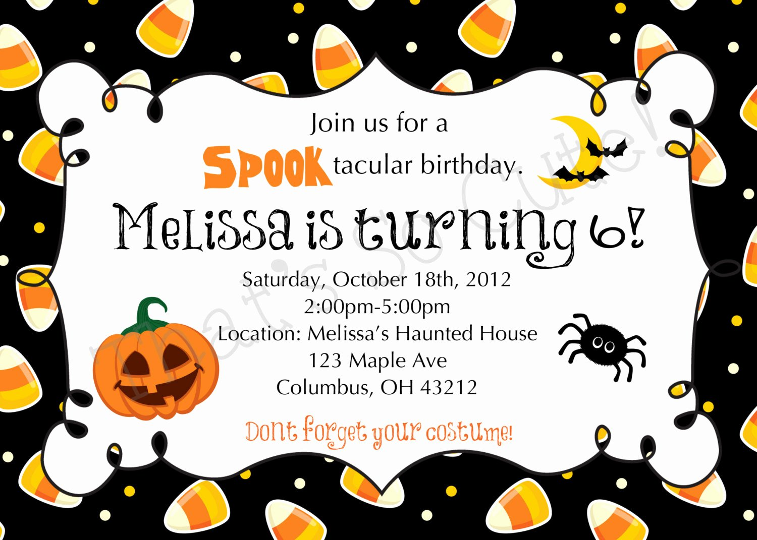 Free Halloween Invitation Template New Halloween themed Birthday Party Invitations