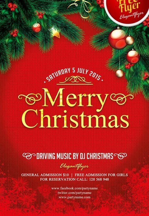Free Holiday Flyer Template Beautiful Merry Christmas Free Psd Flyer Template Download for