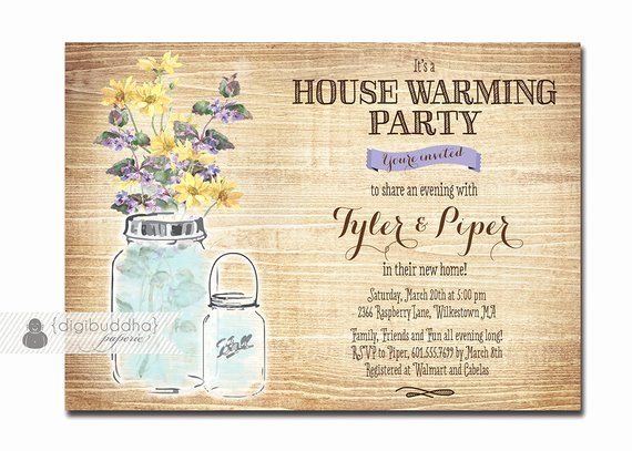 Free Housewarming Invitation Template Lovely Mason Jar Housewarming Invitation Rustic Wood Watercolor