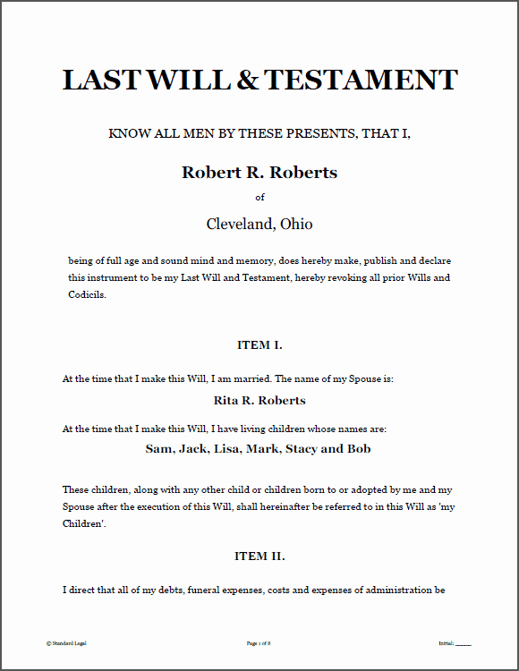 Free Illinois Will Template Beautiful Last Will and Testament Template