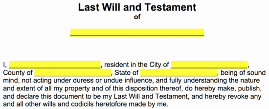 "Free Illinois Will Template Elegant Last Will and Testament Templates – A ""will"""