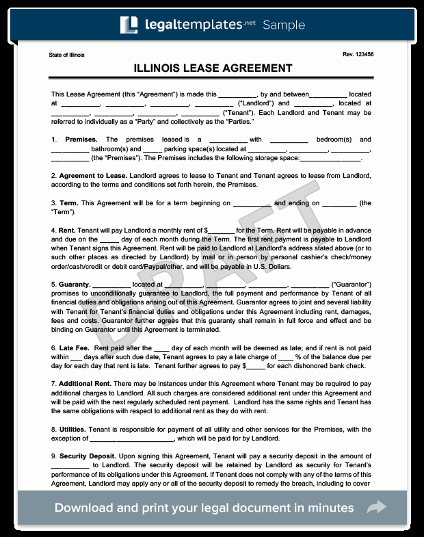 Free Illinois Will Template Lovely Illinois Residential Lease Rental Agreement