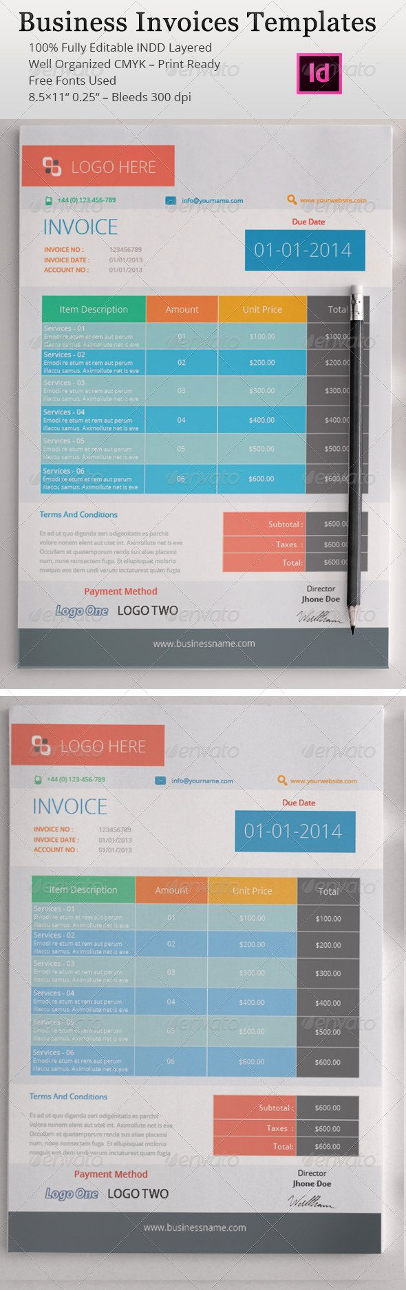 Free Indesign Invoice Template Inspirational Indesign Templates Invoices Dondrup