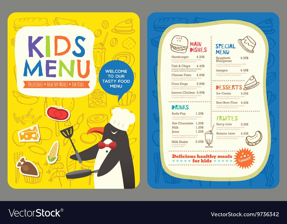 Free Kids Menu Template Beautiful Cute Colorful Kids Meal Restaurant Menu Template Vector Image