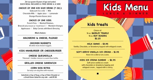 Free Kids Menu Template Beautiful Free Menu Templates Kids Menu Kids Menu