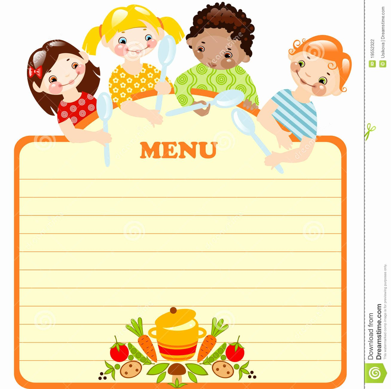 Free Kids Menu Template Elegant Funny Kids with Spoonsnu Stock Vector Illustration