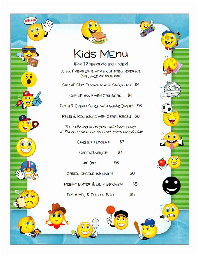 Free Kids Menu Template Elegant Kids Menu Templates – 26 Free Psd Eps Documents Download