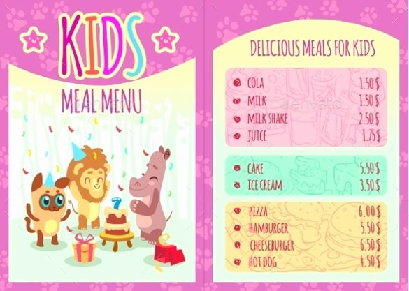 Free Kids Menu Template Fresh Kids Menu Templates – 26 Free Psd Eps Documents Download