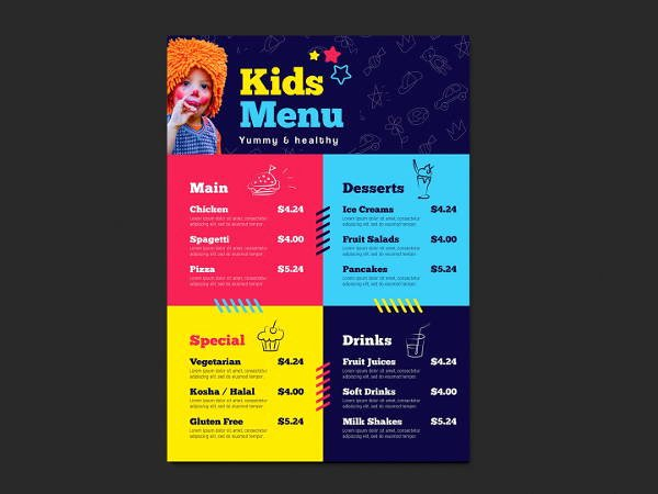 Free Kids Menu Template Inspirational 6 Children Party Menu Designs Templates