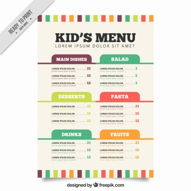 Free Kids Menu Template Inspirational Flat Menu Template for Kids Vector