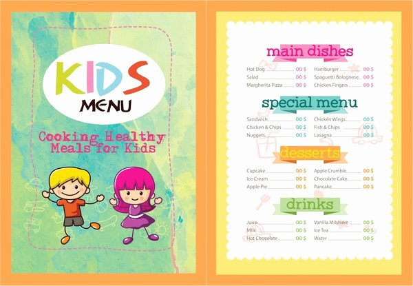 Free Kids Menu Template Lovely Printable Kids Menu Template 27 Free & Premium Download
