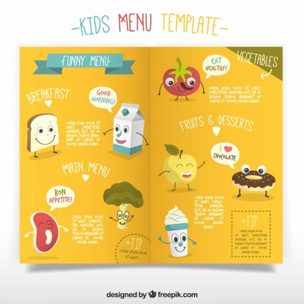 Free Kids Menu Template Luxury Kids Menu Template with Enjoyable Foodstuffs Vector