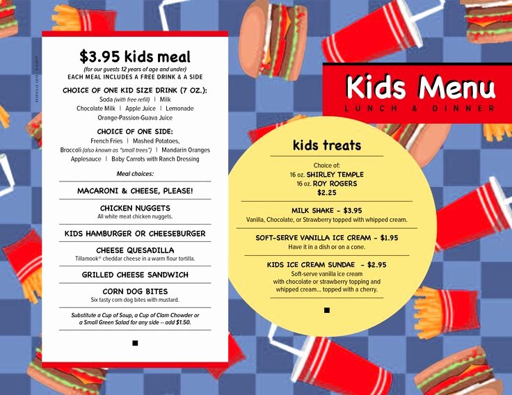 Free Kids Menu Template New 54 Best Images About Menus On Pinterest
