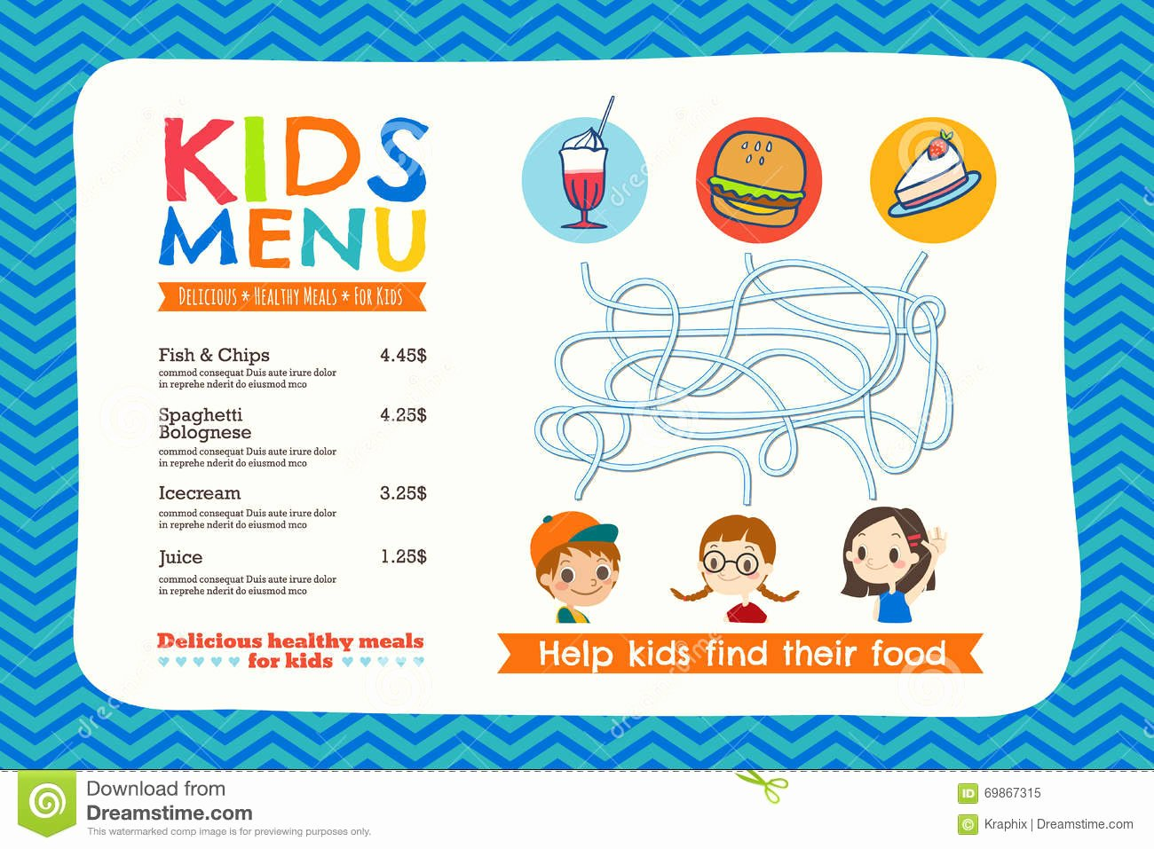 Free Kids Menu Template New Cute Colorful Kids Meal Menu Template Stock Vector