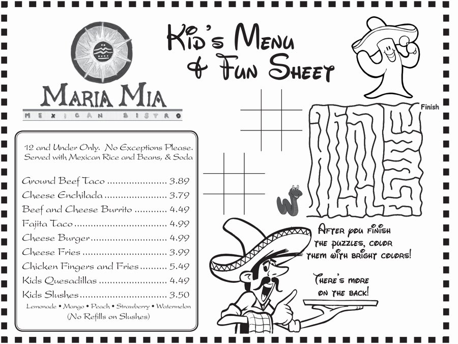 Free Kids Menu Template New Maria Mia Mexican Bistro Kids Menu