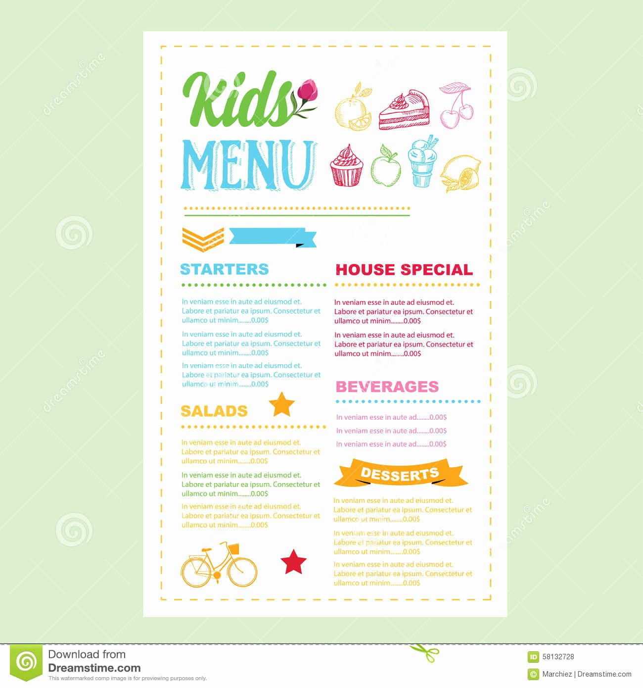 Free Kids Menu Template Unique 30 Of Template Kid Menus Free