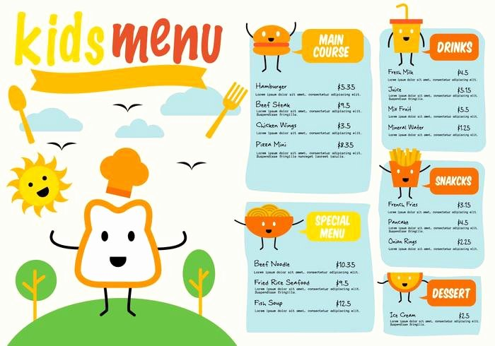 Free Kids Menu Template Unique Free Template Kids Menu Vector Free Vectors