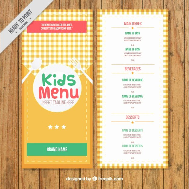Free Kids Menu Template Unique Kids Menu Template with A Cloth Vector