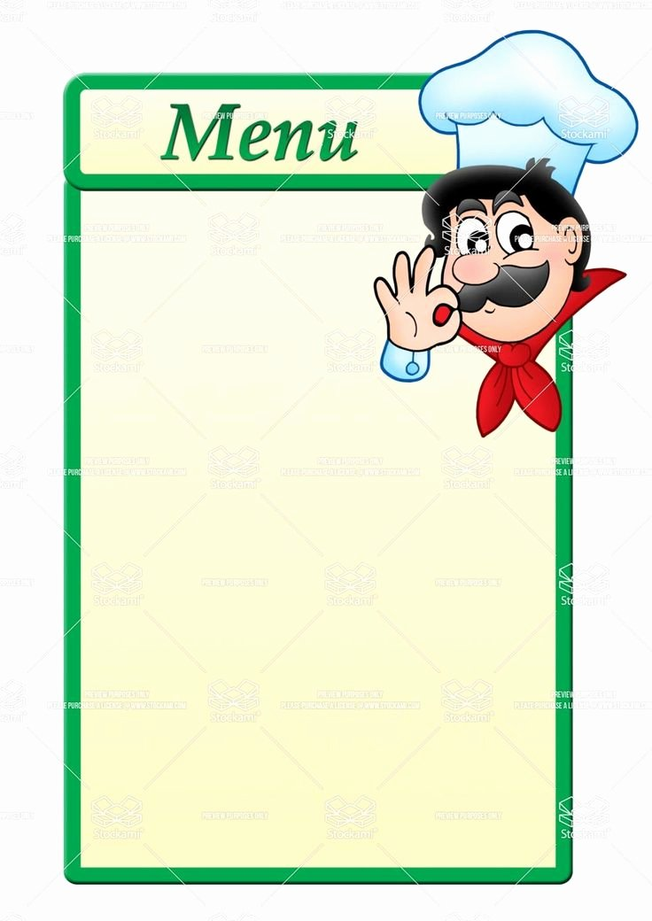 Free Kids Menu Template Unique Stock Image Menu Template with Cartoon Chef 1 061