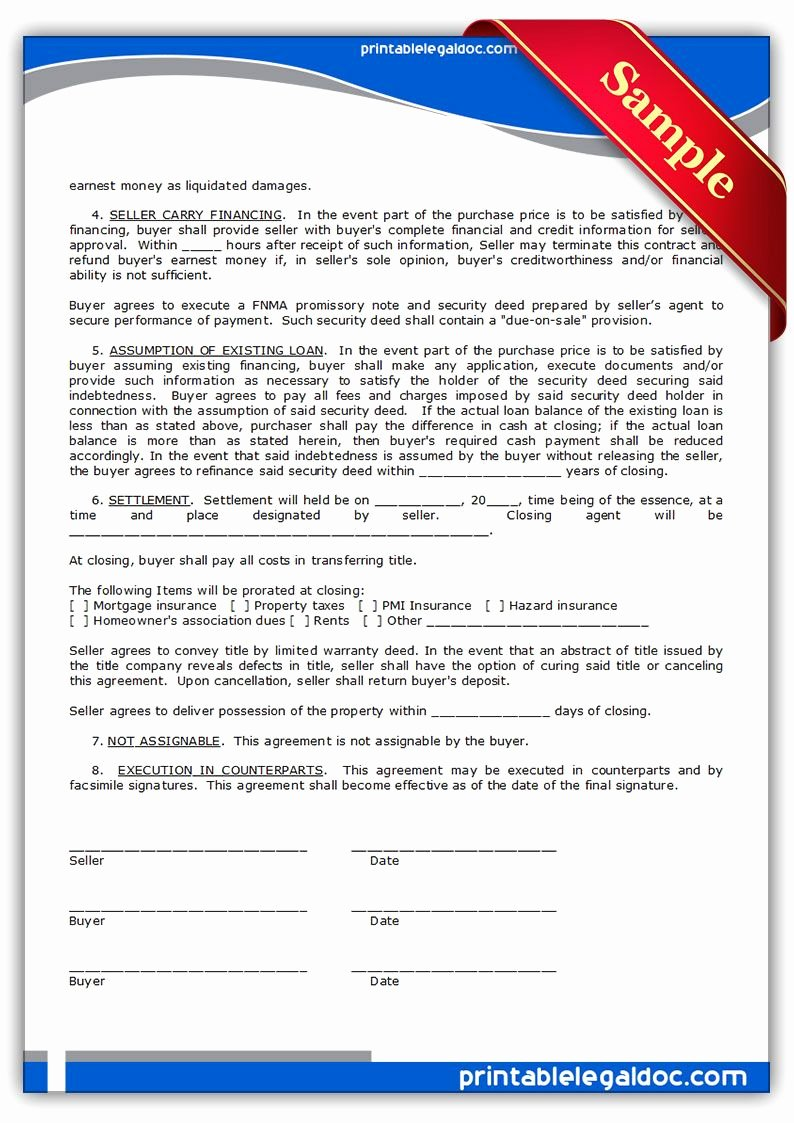 Free Land Contract Template Awesome Printable Sample Contract to Sell On Land Contract form