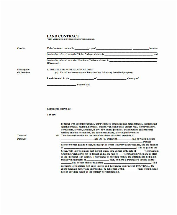 Free Land Contract Template Best Of 7 Land Contract forms Free Sample Example format